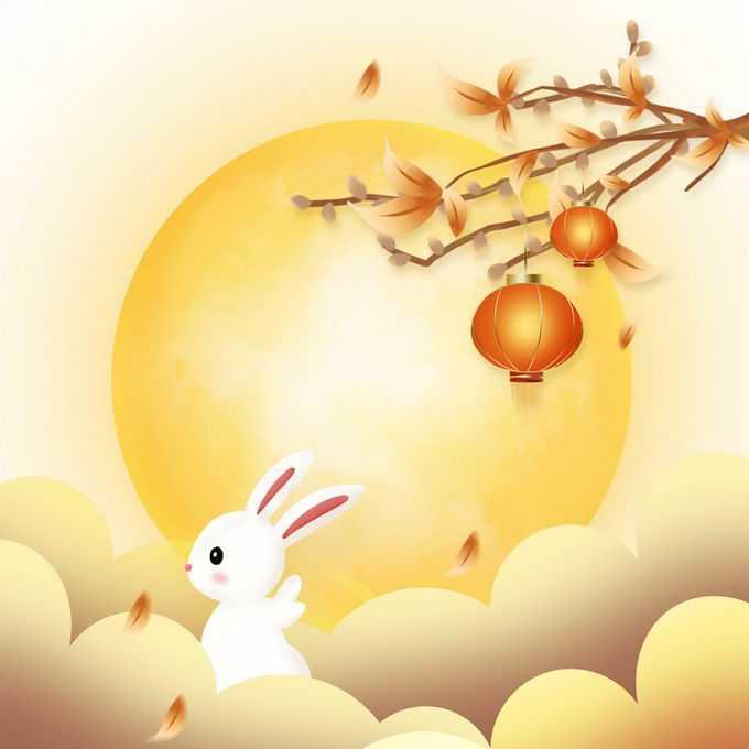 中秋节黄色月亮和桂花枝头上的大红灯笼玉兔9577340免抠图片素材