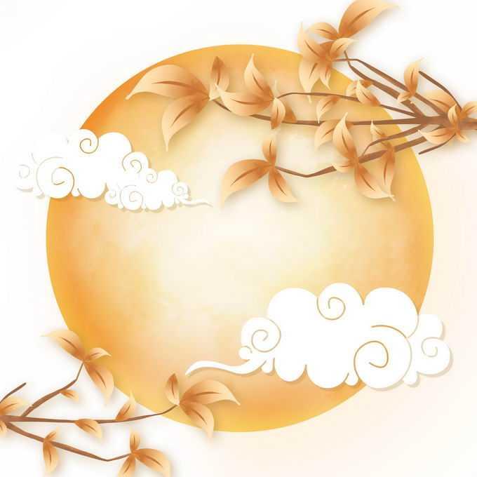 中秋节大大的黄色月亮和桂花枝头以及祥云图案2987187免抠图片素材