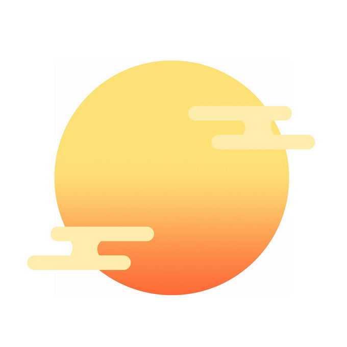 中秋节黄色渐变色月亮和祥云图案7794874免抠图片素材