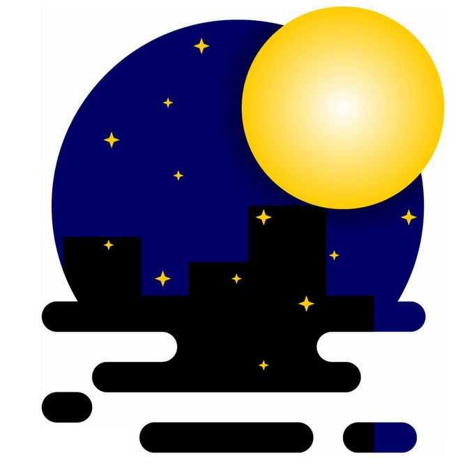 MBE风格的黑夜和黄色月亮2883660免抠图片素材