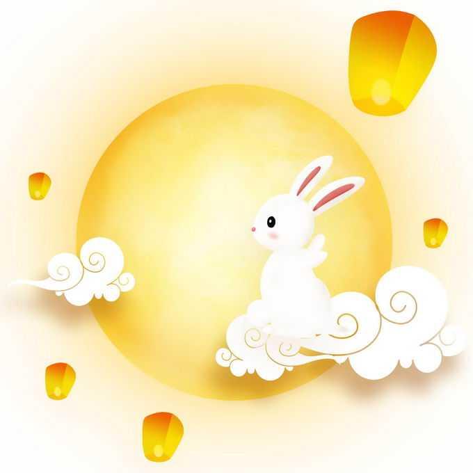 中秋节黄色月亮孔明灯和祥云上的玉兔4454382免抠图片素材