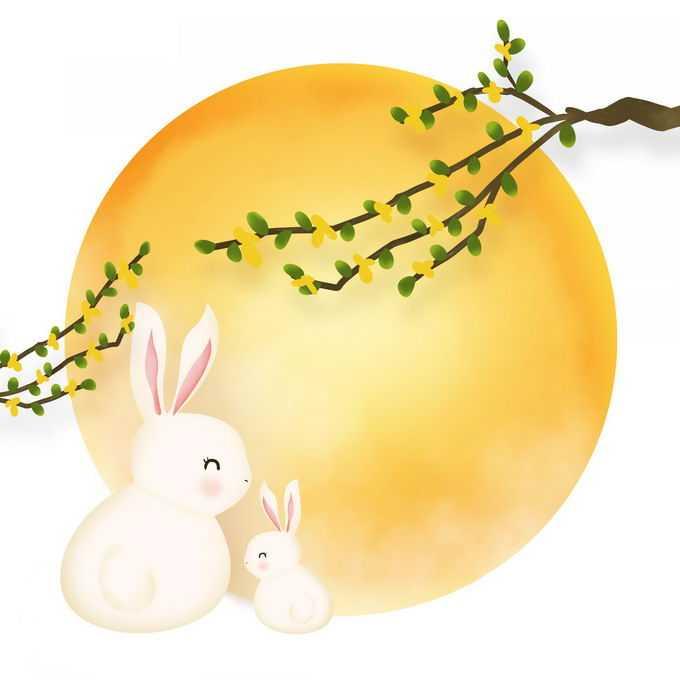 中秋节的桂花枝头大大的黄色月亮和可爱的玉兔7509556免抠图片素材