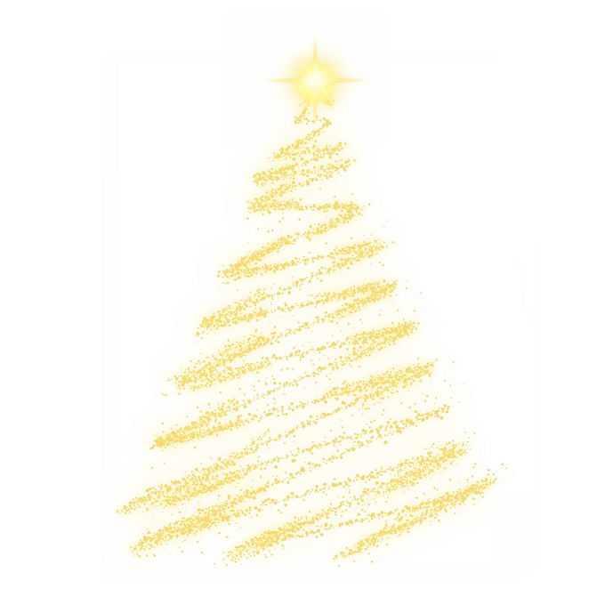 金黄色发光光点组成的抽象圣诞树效果8418448图片素材