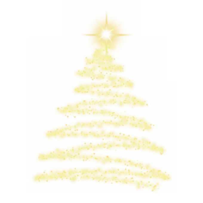 金黄色发光光芒光点组成的抽象圣诞树效果9605741图片素材
