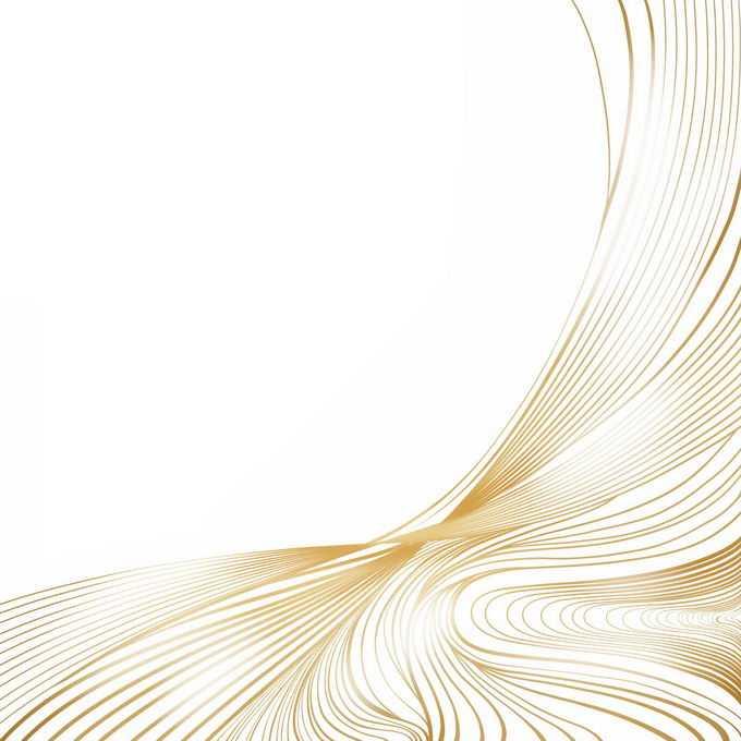 金色线条波浪线组成的抽象曲线边框装饰图案9648502图片素材