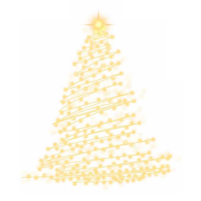 金色发光光点组成的抽象圣诞树效果装饰7553072图片素材