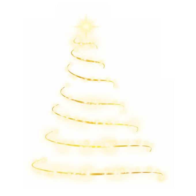 金色发光线条和光点组成的抽象圣诞树效果4622616图片素材