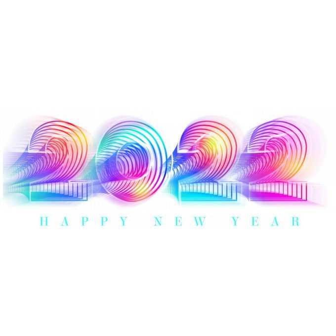 2022年新年快乐彩色发光线条组成的抽象数字艺术字体4292292图片素材