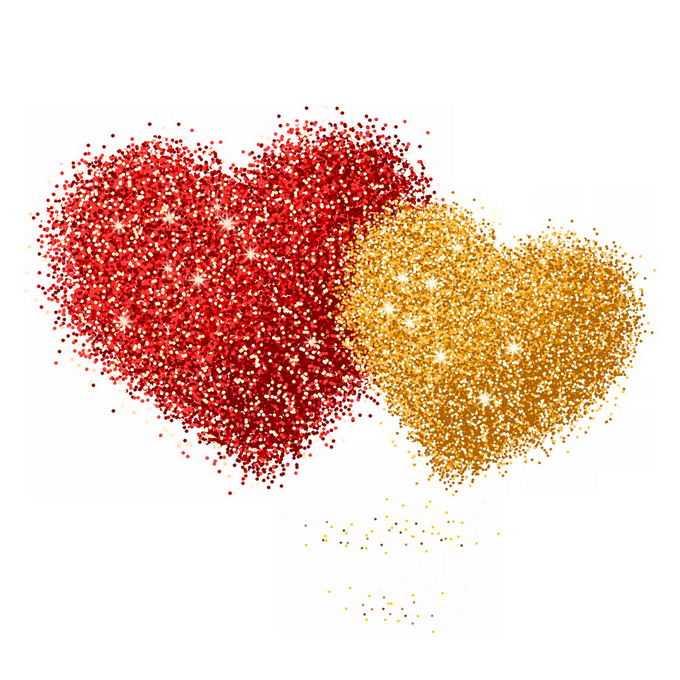 红色圆点和金色圆点组成的情人节心形图案3004545图片素材