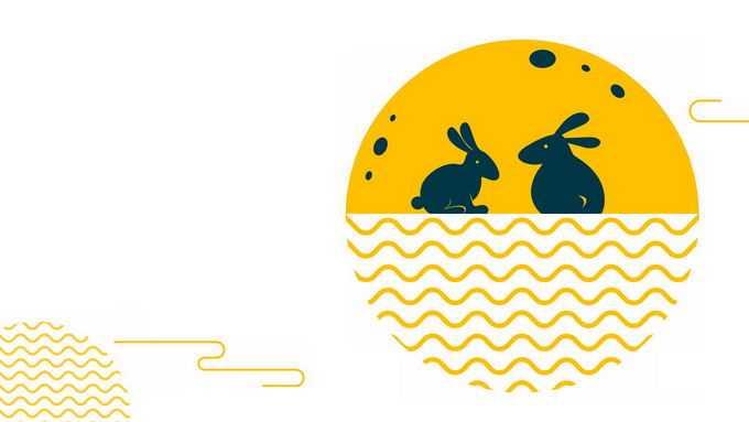 孟菲斯风格中秋节黄色月亮和玉兔祥云图案9672030图片素材