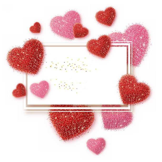 粉色金色小圆点组成的心形图案情人节文本框边框6455679图片素材