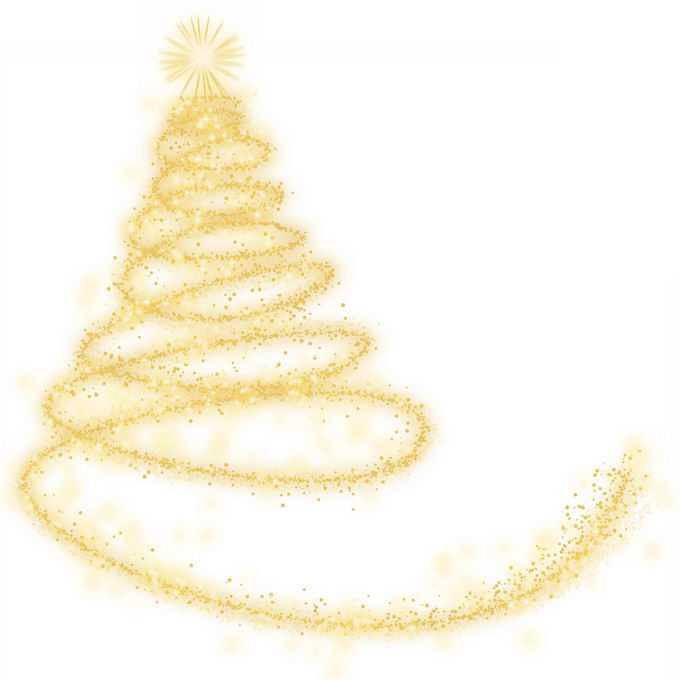发光线条和金色光点组成的抽象圣诞树效果7702224图片素材