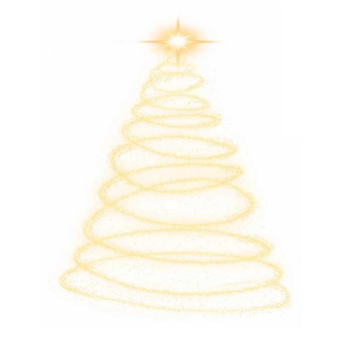 发光光点组成的金色线条螺旋状圣诞树效果5085675图片素材