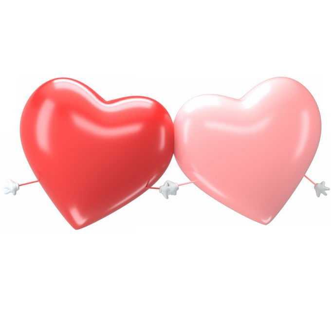 2个手牵手的3D立体红色和粉色红心情人节元素7941466图片素材