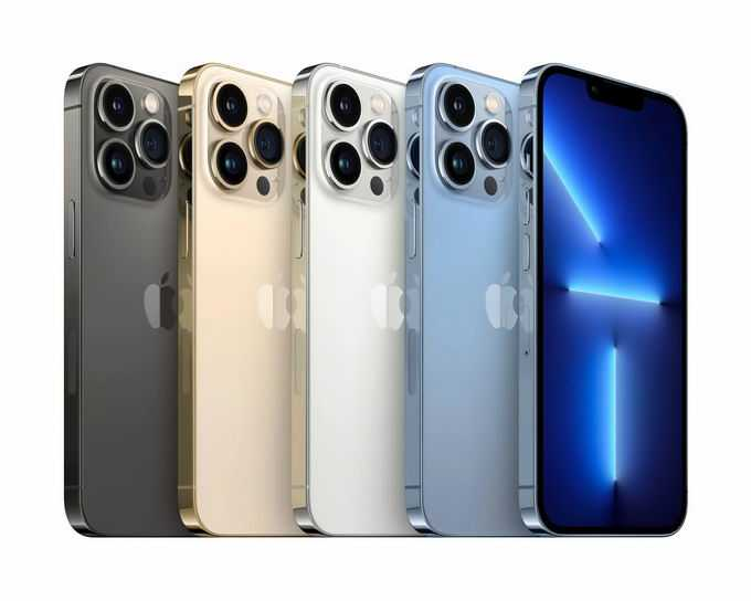 排列整齐的四种颜色的iPhone 13 pro max苹果手机5328600png免抠图片素材