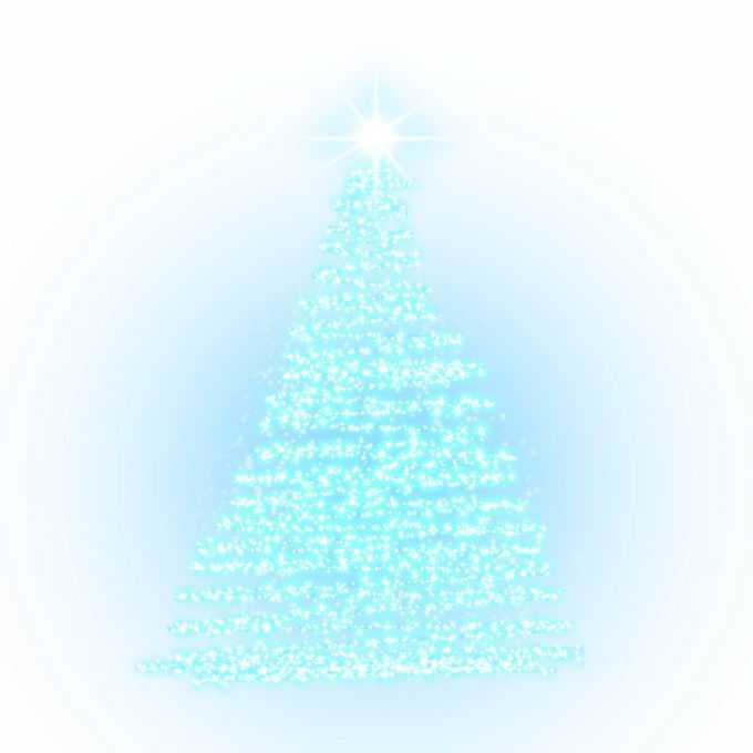蓝色发光光点组成的抽象圣诞树效果7473909图片素材
