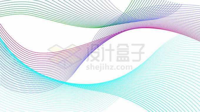 抽象蓝色紫色绿色线条波浪线曲线组成的装饰图案9159130向量图片素材