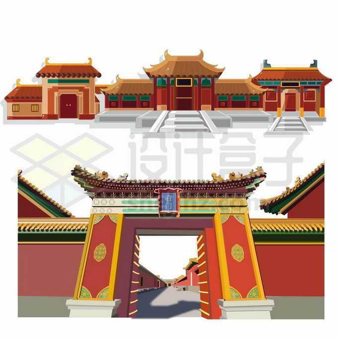 中国传统建筑故宫里面的深墙大院大门和宫殿3359940向量图片素材