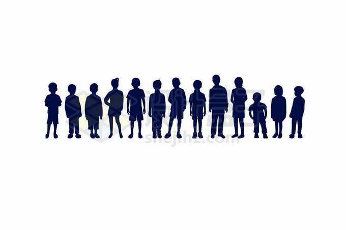各种站立的儿童小孩子小朋友剪影2930660向量图片素材