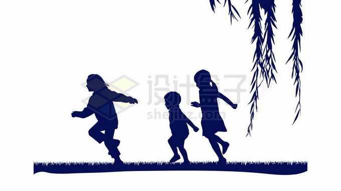 春天里柳树下在草地上奔跑嬉戏的小孩子儿童小朋友剪影1791987向量图片素材