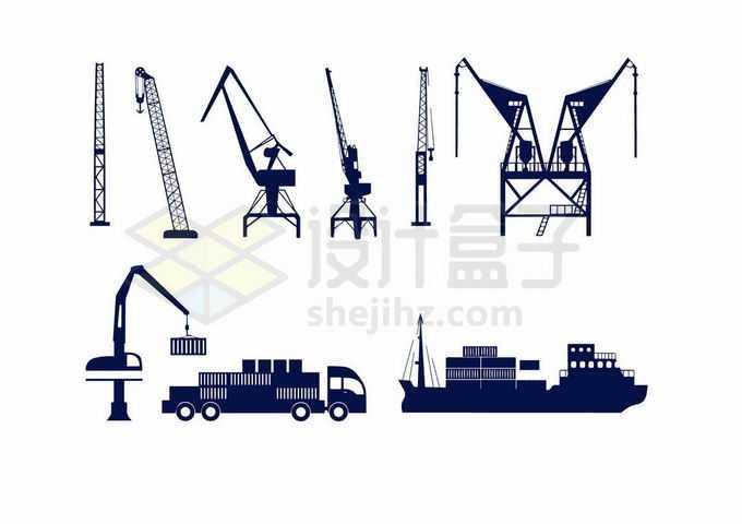 工地码头上的塔吊重型起重机的机械臂和卡通轮船剪影4327161向量图片素材