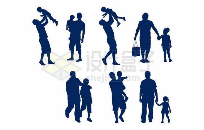 各种爸爸抱着儿子女儿孩子温馨亲子剪影3749011向量图片素材