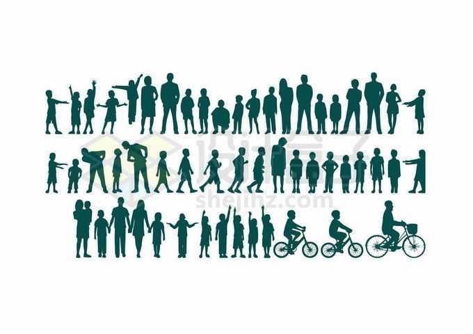 各种各样的大人小孩站立行走跑步骑自行车剪影5693653向量图片素材