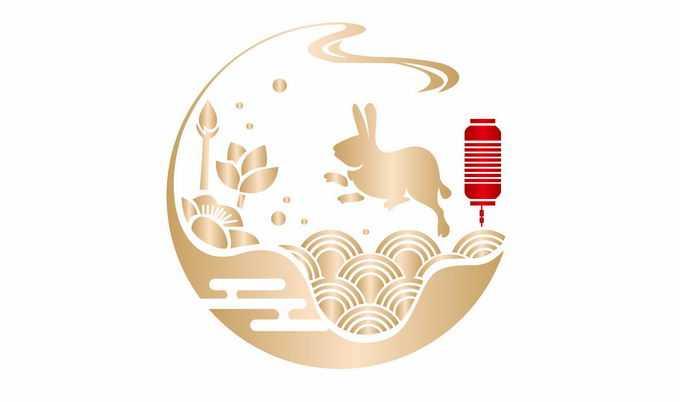 金色中国风月亮海浪玉兔灯笼中秋节装饰8922903矢量图片素材