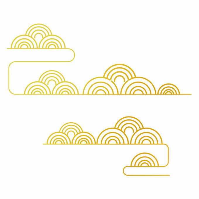 金色线条祥云图案中国风装饰7131335矢量图片素材