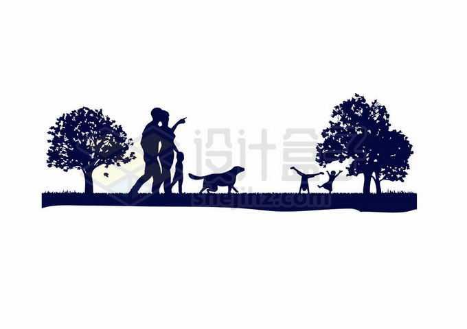 草地上散步的一家五口遛狗剪影1187048向量图片素材