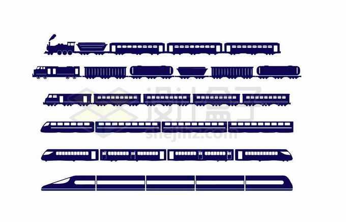 各种蒸汽火车列车高铁轨道交通剪影4808509向量图片素材