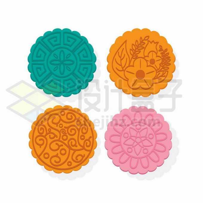 4种颜色图案的中秋节月饼9476110向量图片素材