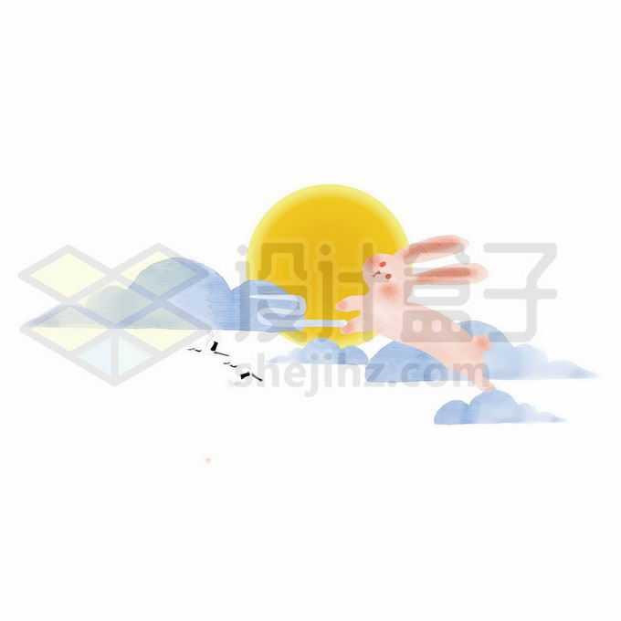 黄色月亮卡通云朵和中秋节玉兔8080579向量图片素材