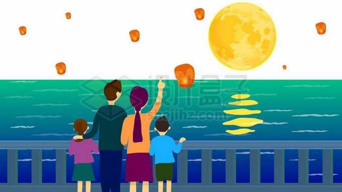 一家人一家四口中秋节站在海边赏月释放祈福灯3499782向量图片素材