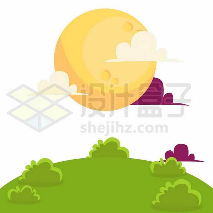 中秋节卡通黄色月亮和草地5023782向量图片素材