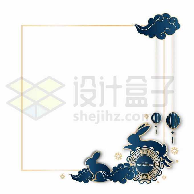 国潮风格中秋节玉兔和月饼边框2268055向量图片素材