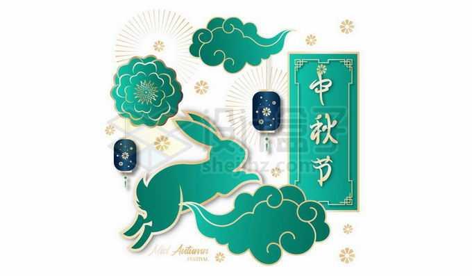 绿色国潮风格中秋节标题祥云和玉兔1295130向量图片素材