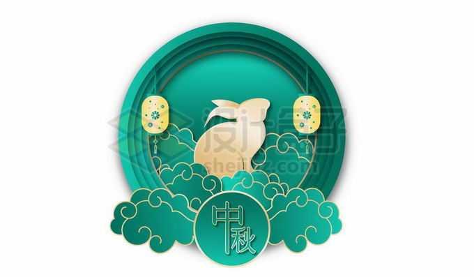 剪纸叠加风格国潮圆形边框中的祥云和玉兔中秋节装饰5571632向量图片素材