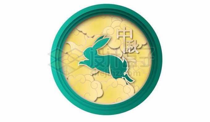剪纸叠加风格国潮圆形边框中的祥云和玉兔中秋节装饰4072608向量图片素材