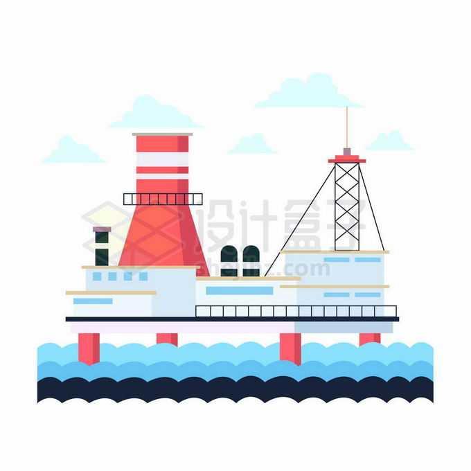 扁平化风格海上钻井平台海洋石油污染插画2865626向量图片素材