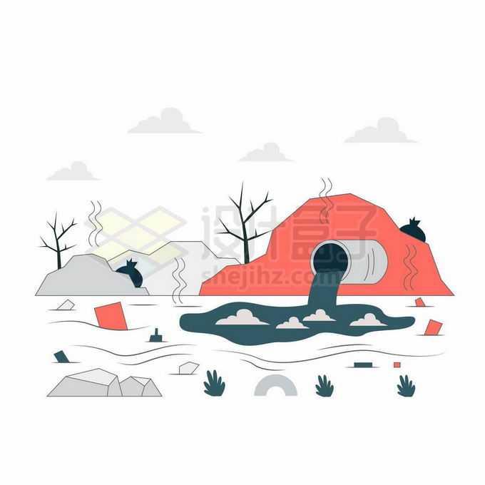 扁平化风格排污口排放污染物环境污染水体污染插画4876796向量图片素材
