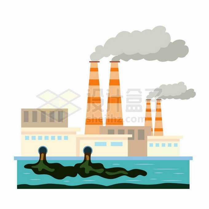 扁平化风格工厂烟囱里的浓烟和排污口的污水环境污染插画7020707向量图片素材