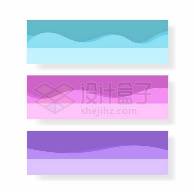 3款蓝色粉色紫色波浪线装饰banner背景图5085391向量图片素材