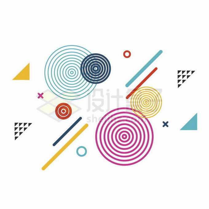 各种同心圆彩色线条和三角形装饰的孟菲斯风格图案5861988向量图片素材