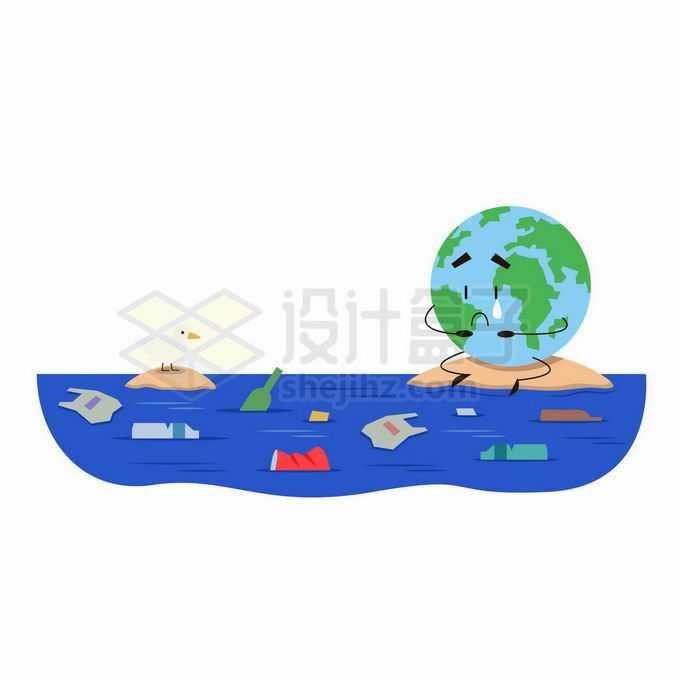 伤心哭泣的卡通地球面临着海洋污染插画9220252向量图片素材