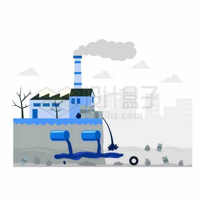 扁平化风格工厂正在排放污水大气海洋环境污染插画6608050向量图片素材