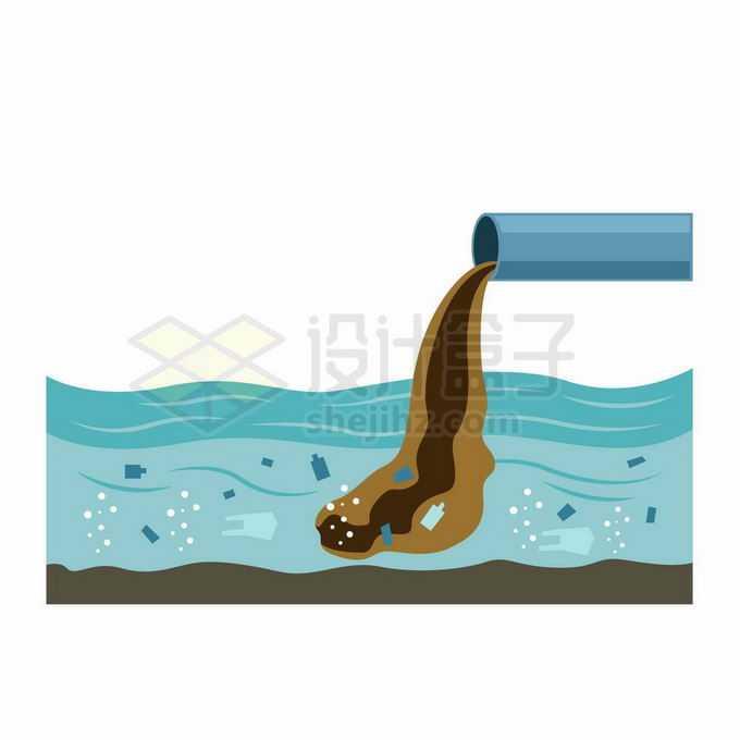 排污管正在不断排放污水造成海洋水体环境污染插画3018299向量图片素材