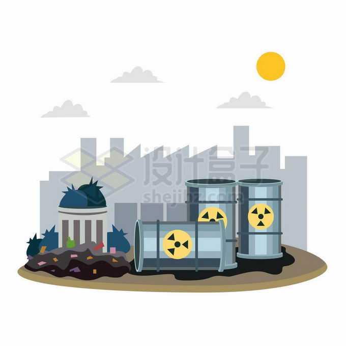 城市垃圾和核废料造成的环境污染插画2927069向量图片素材