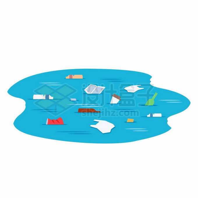 蓝色水面上漂浮的塑料垃圾海洋水体环境污染插画2728963向量图片素材