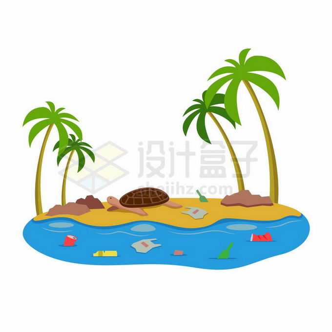 热带海岛周围海水中漂浮的垃圾海洋水体环境污染插画9897418向量图片素材